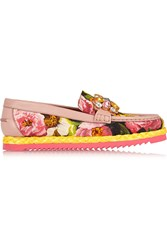 Dolce And Gabbana Embellished Floral Print Brocade Loafers Pink