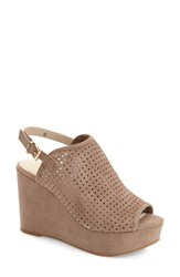 Women's Seychelles 'Landscape' Perforated Platform Wedge Sandal Taupe Suede Leather