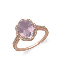 Lord And Taylor 14Kt. Rose Gold Diamond Pink Amethyst Ring Pink Amethyst Rose Gold