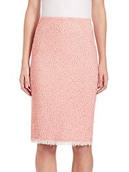 Rebecca Taylor Summer Tweed Pencil Skirt Coral