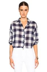 M.I.H Jeans Poets Top In Blue Checkered And Plaid