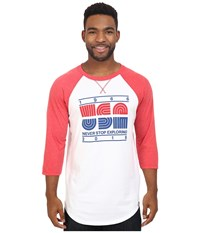 The North Face 3 4 Sleeve Usa Baseball Tee Tnf White Tnf Red Heather Men's Clothing