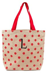 Cathy's Concepts Personalized Polka Dot Jute Tote Red Red L