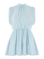 Lost Ink Sleeveless Frill Waisted Tunic Top Light Blue