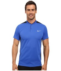 Nike Momentum Fly Sphere Blocked Polo Game Royal Black Game Royal Reflective Silver Men's Short Sleeve Pullover Blue