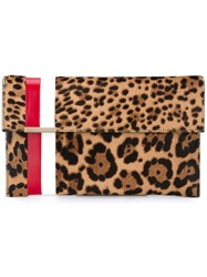 Tomasini Leopard Print Ponyskin Leather Clutch Multi Coloured Leopard White