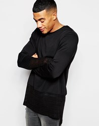 Asos Oversized Longline Long Sleeve T Shirt With Sheer Knitted Panel Black