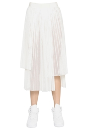 Aviu Laser Cut Pleated Faux Leather Skirt White
