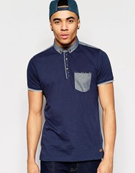 Brave Soul Contrast Pocket Polo Navy