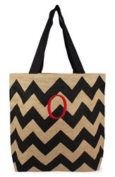 Cathy's Concepts Personalized Chevron Print Jute Tote Grey Black Natural O