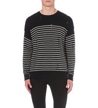 Allsaints Dory Cotton Blend Jumper Ink Navy Grey