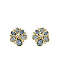 Temple St. Clair 18K Gold Spiral Cluster Earrings With Rose Cut Blue Sapphire And Diamond Gold Blue