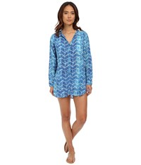 Lauren Ralph Lauren Herringbone Camp Shirt Tail Cover Up Ocean Women's Swimwear Blue