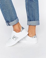 Truffle Collection Stripe Trainers White Silver
