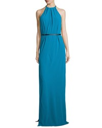 Halston Halter Neck Belted Evening Gown Turquoise