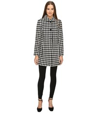 Kate Spade Double Breasted Check Peacoat Black Cream Women's Coat