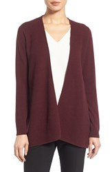 Nordstrom Women's Collection Cashmere Waterfall Cardigan Burgundy Stem Heather