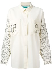 Jc De Castelbajac Vintage Face Print Shirt Nude And Neutrals