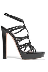 Alexander Mcqueen Braided Leather Platform Sandals Black