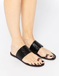 Pieces Toe Thong Flat Sandals Black
