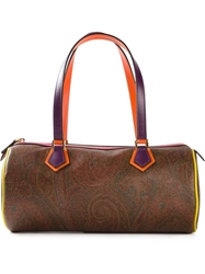 Etro Floral Paisley Barrel Shoulder Bag Brown