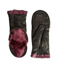 Kate Spade Zip Top Mitten Midnight Wine Black Extreme Cold Weather Gloves Burgundy