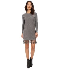 Brigitte Bailey Fae Micro Suede Dress With Fringe Charcoal Women's Dress Gray