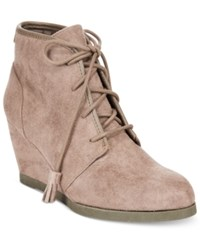 Madden Girl Dally Lace Up Wedge Booties Women's Shoes Dark Taupe