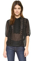 The Kooples Lace Detailed Top Black