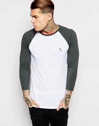 Religion Contrast Raglan 3 4 Length Sleeve Top Whitedarkmetal