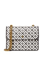 Tory Burch Robinson Woven Quilted Convertible Shoulder Bag Black New Ivory