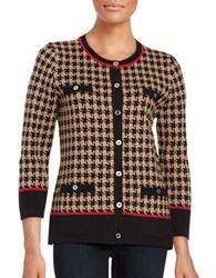 Karl Lagerfeld Houndstooth Cardigan Camel