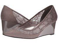 Adrianna Papell Langley Graphite Kid Suede Women's Wedge Shoes Gray