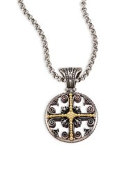 Konstantino Penelope 18K Yellow Gold And Sterling Silver Etched Filigree Charm Pendant Silver Gold