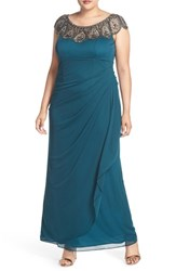 Xscape Evenings Plus Size Women's Beaded Neck Empire Gown