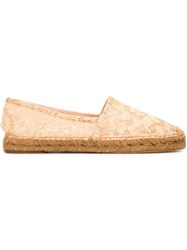 Dolce And Gabbana Floral Lace Espadrilles Nude And Neutrals