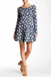 Pink Owl Print Skater Dress Gray