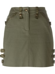 Christian Dior Vintage Buckled Mini Skirt Green