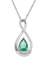 Macy's Gemstone 7 8 Ct. T.W. And Diamond Accent Infinity Pendant Necklace In Sterling Silver