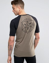 Asos Longline Muscle T Shirt With Geo Back Print In Khaki Bungee Cord Brown