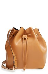 Sole Society 'Nevin' Faux Leather Drawstring Bucket Bag Brown Cognac