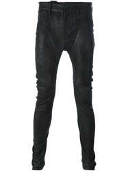 Julius Skinny Leather Trousers Black