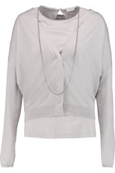 Brunello Cucinelli Cashmere And Silk Blend Top And Cardigan Set Light Gray