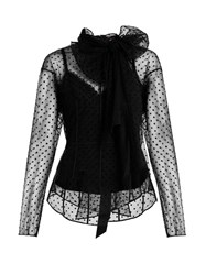 Marc Jacobs Tie Neck Mini Polka Dot Flocked Tulle Blouse Black