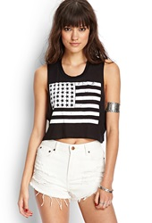 Forever 21 American Flag Crop Top Black White