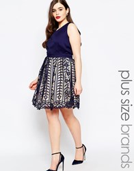 Little Mistress Plus Plunge Prom Dress With Premium Lace Skirt Navy