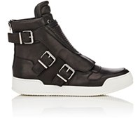 Balmain Men's Moto Detail Leather High Top Sneakers Black