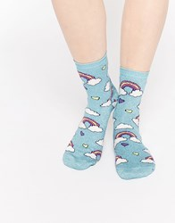Asos Rainbow Cloud And Heart Ankle Socks Blue