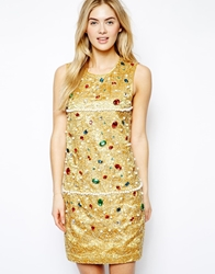 Arrogant Cat London Shift Dress In All Over Embellishment Multi