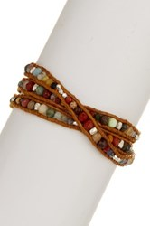 Chan Luu Sterling Silver Nuggets And Beaded Wrap Bracelet Multi